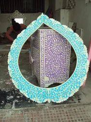 Vinayak Art School Turquoise Bone Inlay Floral Design Mirror Frame