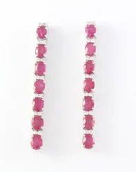 Ruby Gemstone 925 Sterling Silver Earring