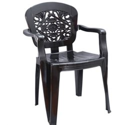Black Plastic High Back Chair with Arms