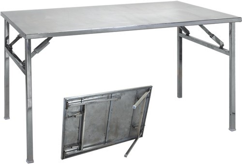 Grey Steel Folding Table Size 180 X 80 X 80 Cm Rs 7500