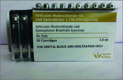Articaine 4% with Adrenaline 1:100,000 Injection (Dental)
