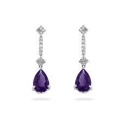 Amethyst Diamond Earring