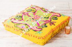 Suzani Indian Floor Square Cushion Bohemian Suzani Pouf
