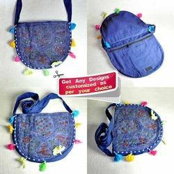 Denim Oval Mirror Bag