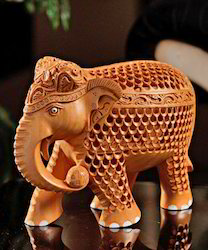 Brown Box Wooden Jali Elephant Statue