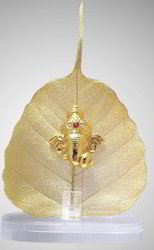 Ganesha Gold Plated Statue On Leaves