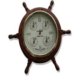 Wooden Wheel World Clock