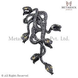 Diamond Snake Design Charm Pendant