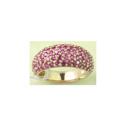 14k Ruby Round Half Band Broad Yellow Gold Ring
