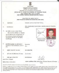 Certificate of Importer Code (IEC)