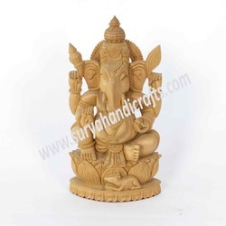 Wooden Ganesha Sitting On Louts