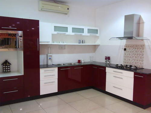 PVC High Gloss Modular Kitchen, Cabinets Designing ...