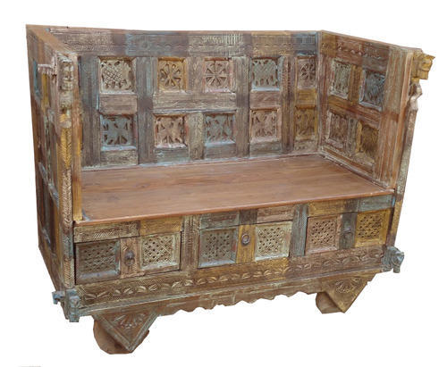Carved Twenty Six Figure Sofa Two Seater With Three Drawer