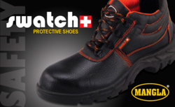 Mangla Black & Orange Safety Shoes, Size/Dimension: 6 To 10, For Industrial
