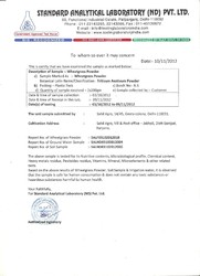 1. Standard Analytical laboratory Certificate