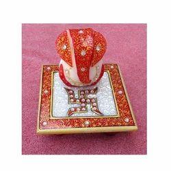 Decorative White Marble Ganesha On Chowki