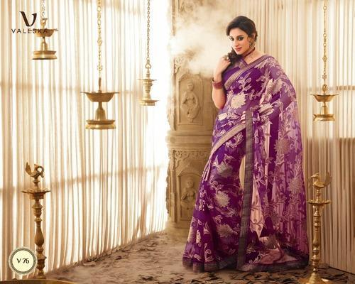 c65421e70678d5 Fascinating Purple Color Brasso Printed Saree - Red Sparrow