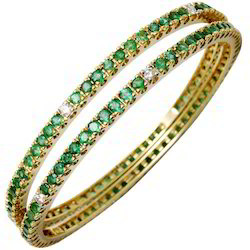 Emerald Gemstone Gold Bangle