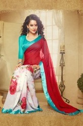 Red Faux Georgette Designer Printed Saree