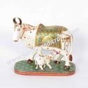 Wooden Painting Cow with Calf