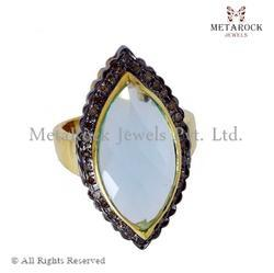 14k Gold Marquise Shape Diamond Ring