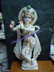 Shree Krishna White Marble Statue