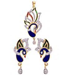Kundan Meena Peacock Pendant Set