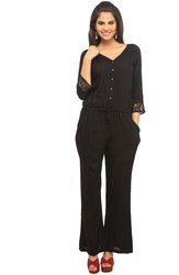 Women Black Rayon Jumpsuit