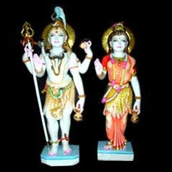 Marble Shiv Parvati Standing Statue
