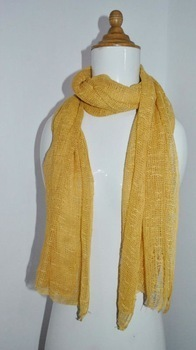 Yellow Plain Lightweight Cotton Indian Scarves