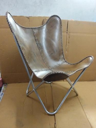 Metal Furniture Butterfly Chair With Leather Sitting