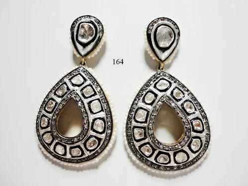 4d425ba52a51f Rose Cut Diamond Polki Earrings - Nikhil Jewellers, Jaipur | ID ...