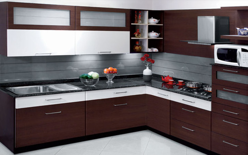 Dark Brown Sleek Kitchen at Rs 1000 /square feet | Modular Kitchens ...