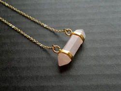 Rose Quartz Silver Gemstone Necklace