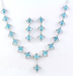 925 Blue Topaz Gemstone Necklace Set