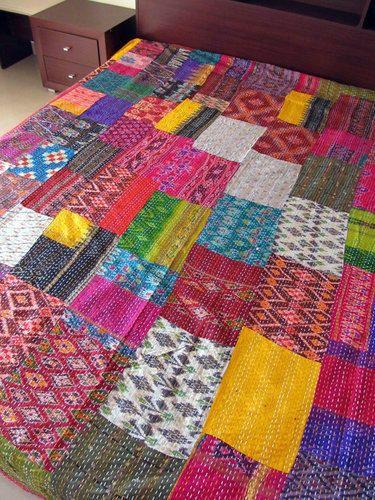 Ikat Silk Handmade Kantha Stitch Patchwork Quilt/throw - Raghav ... : patchwork quilt handmade - Adamdwight.com