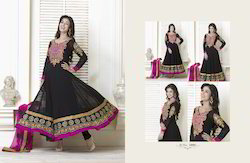 Casual Wear Stitched Black Georgette Suit, Size: Large
