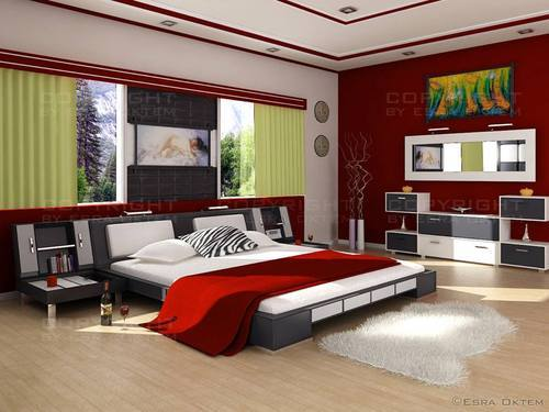 Modern master bed interior design in balkampet road hyderabad