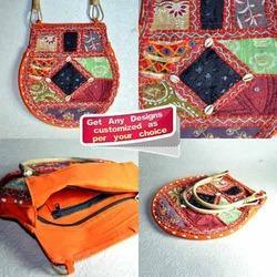 Patchwork Multi Color Banjara Bag with Cane Handle