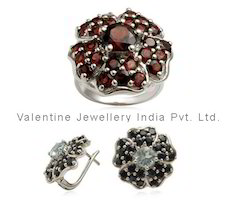 Designer Ring and Earring Set, Studded with Garnet Onyx