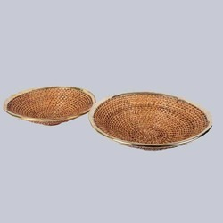 Brown Deep Shallow Wicker Fruit Basket, For Fruits