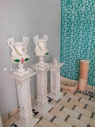 White Designer Marble Pillar