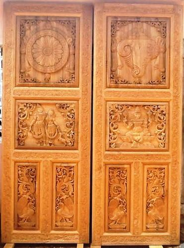 Golden Colour Temple Carved Special Doors Sizedimension 7 Feet