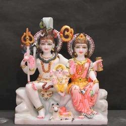 Shiv Parvati Painted Marble Statue