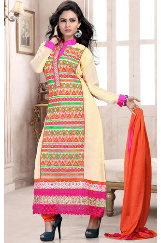 Cream Designer Graceful Straight Salwar Kameez - Sky Sarees