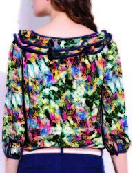 Poly Crepe Multi Coloured Tops Fabric