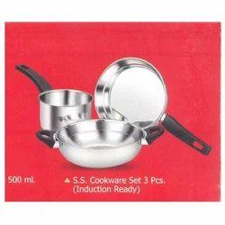 S.S Cookware Set 3 Pcs. (Induction Ready)