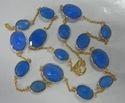 Blue Chalcedony Gold Plated Bezel Set Necklace