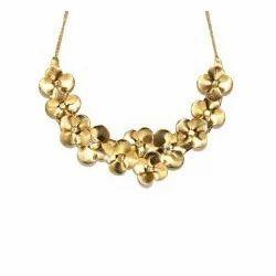 Hi Look Gold Toned Flower Necklace