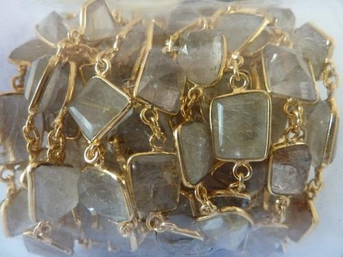 Golden Routile Quartz Fancy Shape Beading Rosary Gems Chain